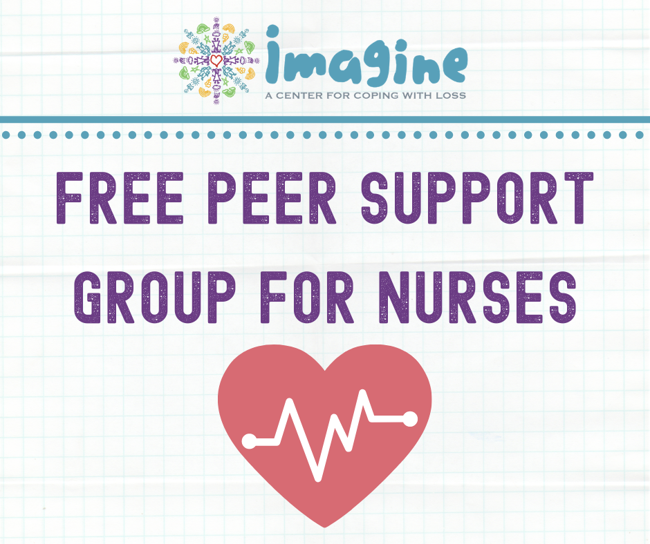 Peer Support Group for Nurses with a red heart and heartbeat lines going through it